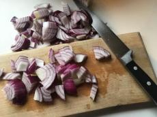 Three onions chopped